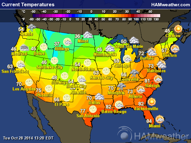 See Current Temperature In Your Area - Us map forecast